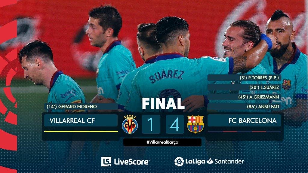 FINAL #VillarrealBarça 1-4  ¡El @FCBarcelona_es encuentra su mejor versión en el Estadio de la Cerámica! 🌟   #LaLigaSantander https://t.co/1xAhwoXSXO