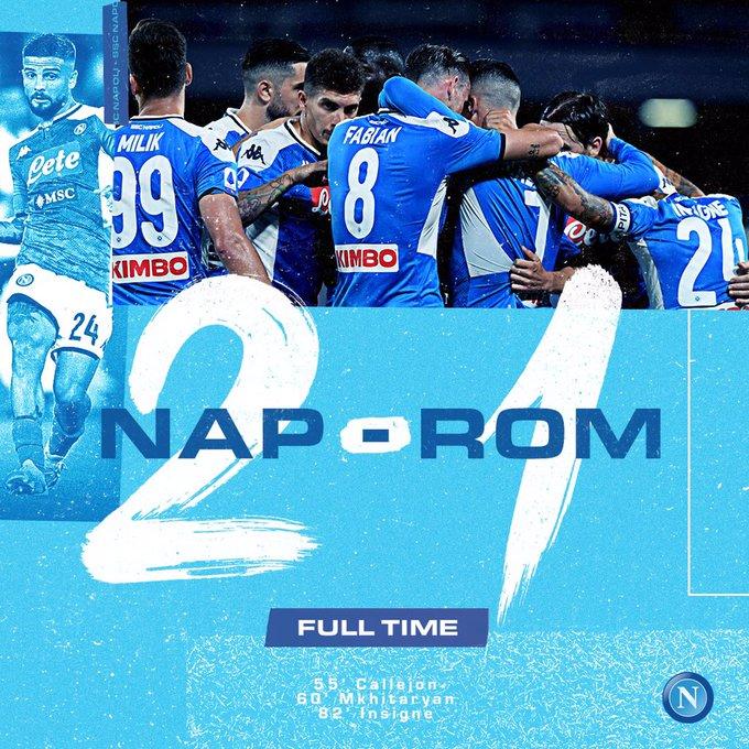 Roma, Italia | AFP | Gracias a un gol de Lorenzo Insigne en los últimos minutos del partido, el Nápoles (6º) se impuso por 2-1 a la Roma (5º) y suma tres puntos que permiten al equipo entrenado por Gennaro Gattuso seguir soñando con una clasificación para la próxima 'Champions'. pic.twitter.com/5yCCUcai1l