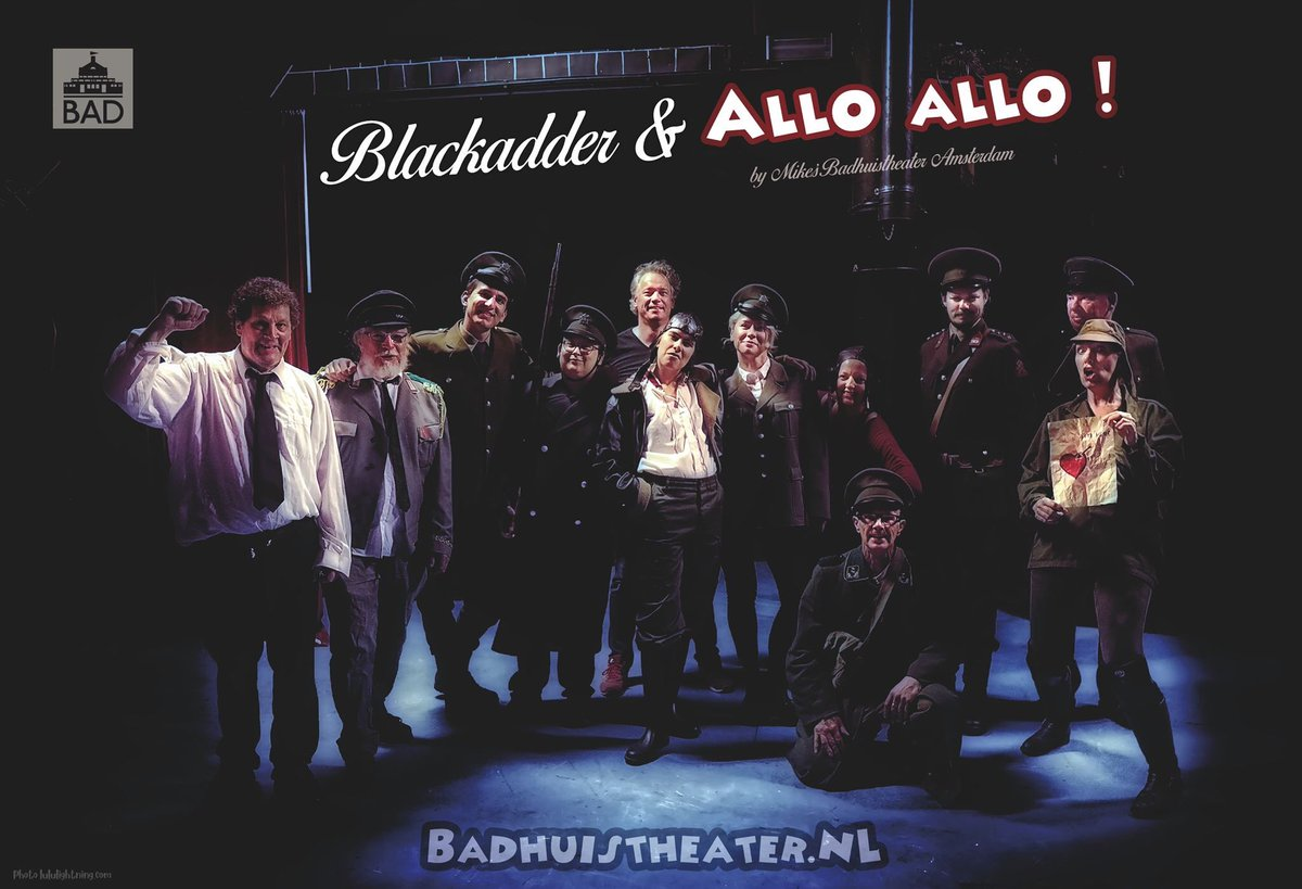 What a GREAT SHOW AND SUPPORT FOR OUR THEATER .THANK YOU ALL FOR YOUR APPLAUSE . FOR COMING TO SEE US AND LAUGH WITH US #badhuistheater #amsterdam #theatre #amsterdamtheatre #SaveTheatre #nederland #netherlands #blackadder #alloallo #comedypic.twitter.com/elmJi5lFGx