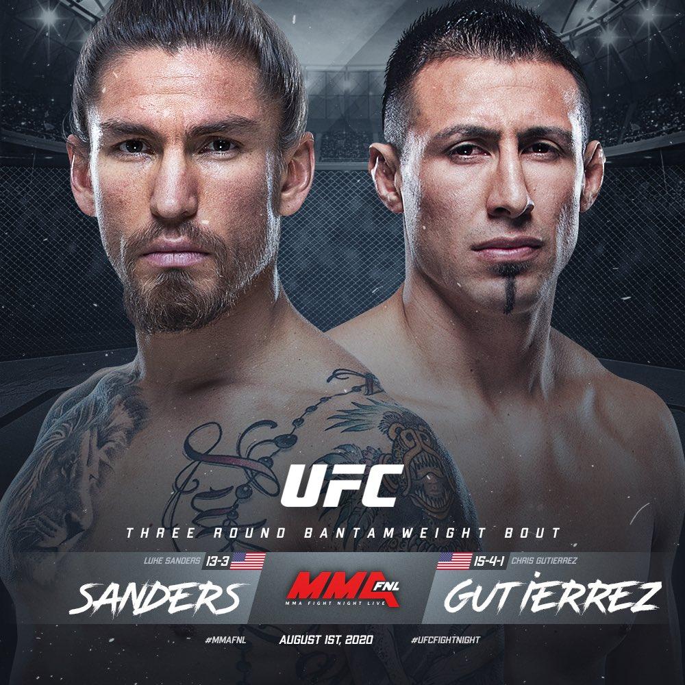 📑 #UFCTBD 🗓 08.01.20  Bantamweight: Luke Sanders [ @coolhandmma ] x Chris Gutierrez  Story by @MMAFighting x @MikeHeck_JR   🔗 https://t.co/EwKb4rXnCH https://t.co/mXJ7P7SbpU