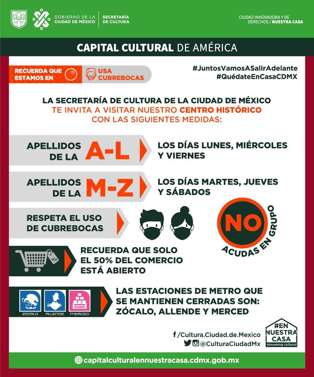 ⚠️Atención⚠️ Como parte de las medidas de la #NuevaNormalidadCDMX y para mantenernos en #SemáforoNaranja 🚦🟠  y no retroceder al 🚦🔴, el Gobierno de la Ciudad de México tomará las siguientes medidas 👇🏽 para cuidar el corazón de la #CapitalCultural de América 😷 https://t.co/l4Hd8pOnal