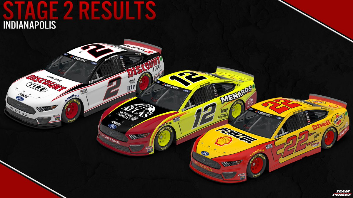 Stage two is complete from @IMS.  14th - @keselowski / @DiscountTire  18th - @joeylogano / @shellracingus   Unfortunately @Blaney and the No. 12 @MenardsRacing Mustang are headed to the garage.  #NASCAR | #BrickyardTriple | #Brickyard400 https://t.co/nry0vGFTf9