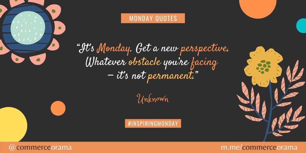 """Good morning! Have a Magnificent Monday!  """"It's Monday. Get a new perspective. Whatever obstacle you're facing—it's not permanent.""""- Unknown  #morningmotivation #mondaymotivation #magnificentmonday #mondayquotespic.twitter.com/cOW4QjcSWx"""