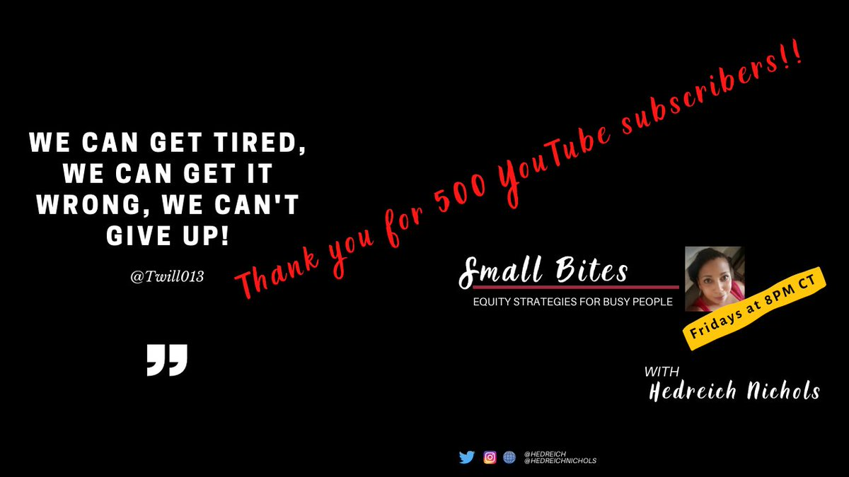 Excited: #SmallBites on YouTube just hit 500 subscribers! #equity    Thanks for watching, for doing the work.  #CrazyPLN #withnohea #EducationNeverDies #rethink_learning #822Chat #HackLearning #masterychat