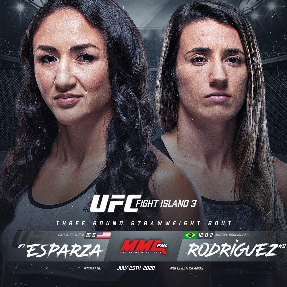 📑 #UFCFightIsland3 🗓 07.25.20  Strawweight: Carla Esparza [ @CarlaEsparza1 ] x Marina Rodriguez [ @wmmarz ]   Story by @MMAFighting x @guicruzzz x @MikeHeck_JR   🔗 https://t.co/PerDOcwfRR https://t.co/ursluOL3Yv