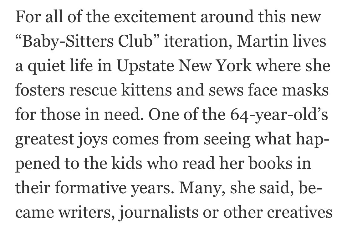 If you've wondered why your entire feed is full of Baby-Sitters Club content, Ann M. Martin has answers. https://t.co/eK9ZG5RZE0 https://t.co/8s0QFFfVap