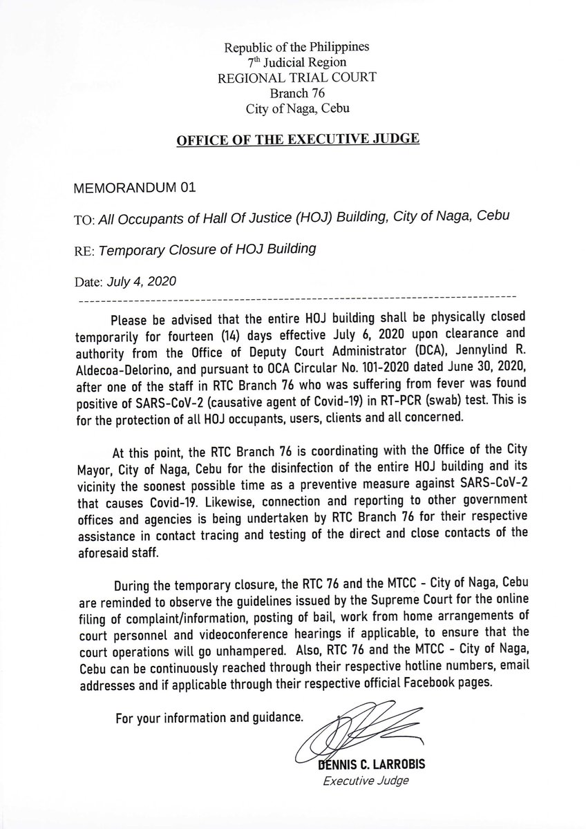 HOJ Building, City of Naga, Cebu, Temporarily Closed for fourteen (14) days effective July 6, 2020. READ: Memo issued by the Executive Judge