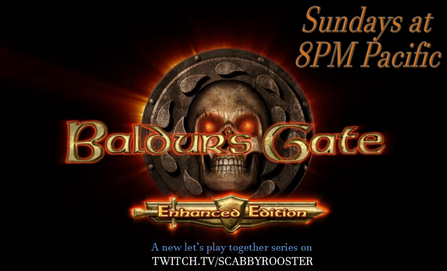 Tonight John Lin continues playing #Baldursgate! Come join us in chat and help us make decisions on what to do and where to go next! Tonight at 8pm pdt on http://bit.ly/scabbyrooster #dnd #dungeonsanddragons #livestream #playingwithviewerspic.twitter.com/cZGtM00EGb