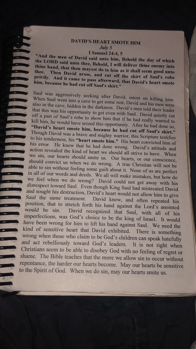 #David's #heart #smote him #July #Devotional #1Samuel 24:4-5pic.twitter.com/K5q9qPxLcX
