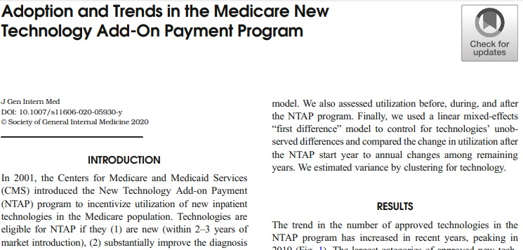 Important analysis of the adoption and trends in the @CMSGov New Tech Add-On Payment Program. This program significantly increases adoption at current reimbursement rates and sustains use following NTAP #Medicare #Innovation @MoreyJR917 https://t.co/bktFIeaqIC https://t.co/0ORgWBClGZ