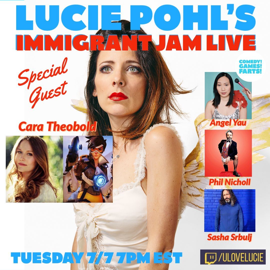 #ImmigrantJamLive Tuesday 7PM on #twitch !!! Featuring EXTRA SPECIAL CRAZY SALAD GUEST @CaraTheobold plus @AngelYau @philnichol @SashaSrbulj 👀 And Games ! Farts ! Zesticles ! 👀 https://t.co/7DBOzIzo8x