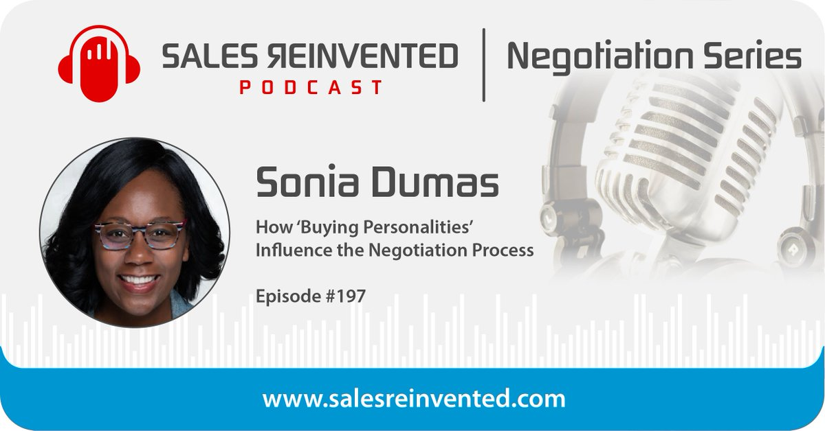 According to Sonia Dumas, determining buying personalities should be the FIRST step in the negotiation process. Learn more in this episode of @salesreinvented! #SalesReinvented #Sales #Influence #Personality #Negotiation https://t.co/kfR5Rjv37e https://t.co/zQWrYiyCO1