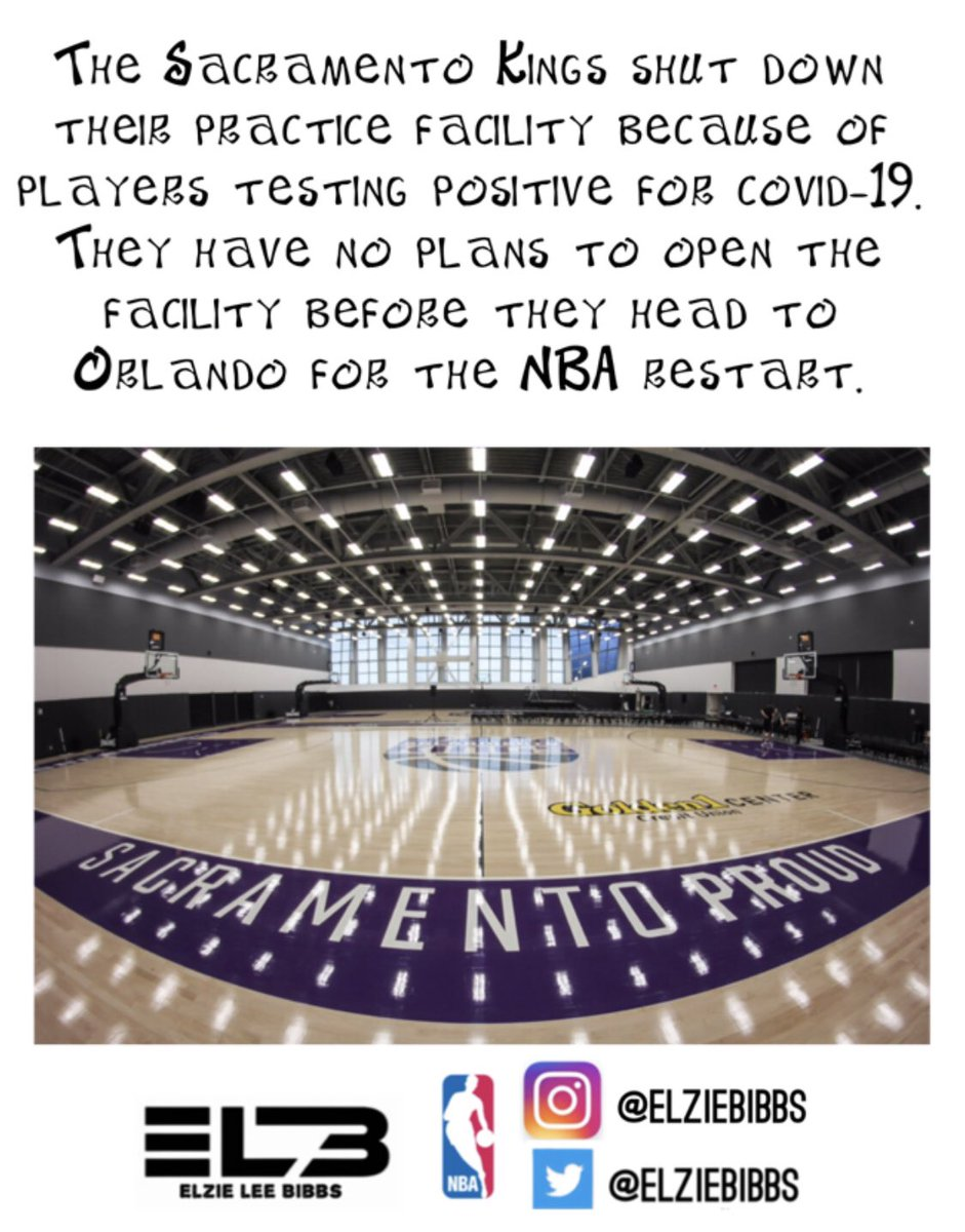 🗣The Sacramento Kings shut down their practice facility because of players testing positive for covid-19. They have no plans to open the facility before they head to Orlando for the NBA restart. 🦠😷🏀  #stephonclark #follow #sacramento #kings #equality #basketball #blm #covid https://t.co/SwWl8WVD3V