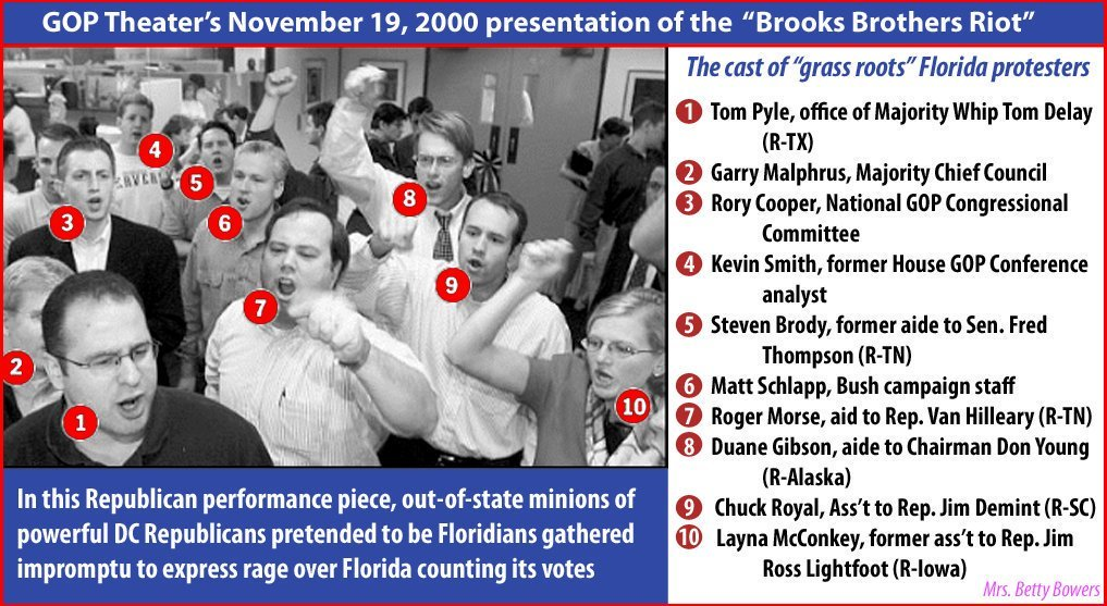@MmeScience @Ionsancho1 @jennycohn1 @algore Are you forgetting the faked Brooks Brothers Riot of paid GOP operators set up by Roger Stone that included racist Matt Schlapp and a bunch of other names youll recognize? ?