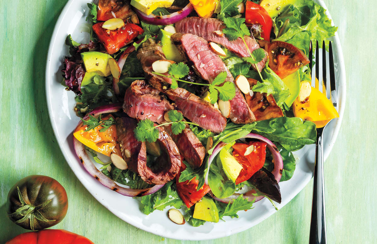 Celebrate summer with steak on the grill paired with bright, fresh produce.  #Summer #Salad #Produce #Fresh