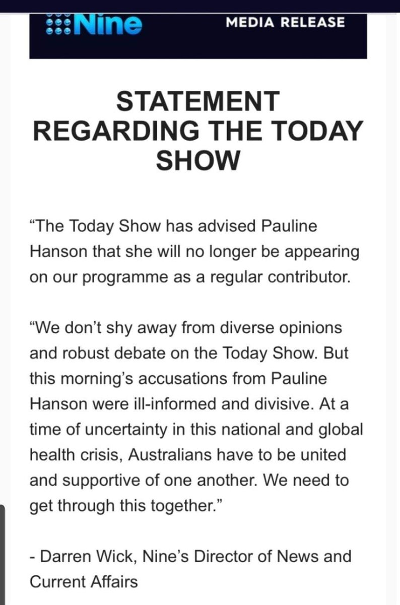 @PaulineHansonOz #PaulineHanson You racist fool you should stay out of #Australia we are a multi national country, we don't need a racist like you in our community.  Good on #Today show that you are no longer appearing on the program. https://t.co/XszJbhYXkr