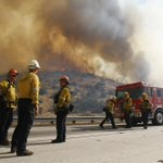 Image for the Tweet beginning: Los Angeles County firefighters, with