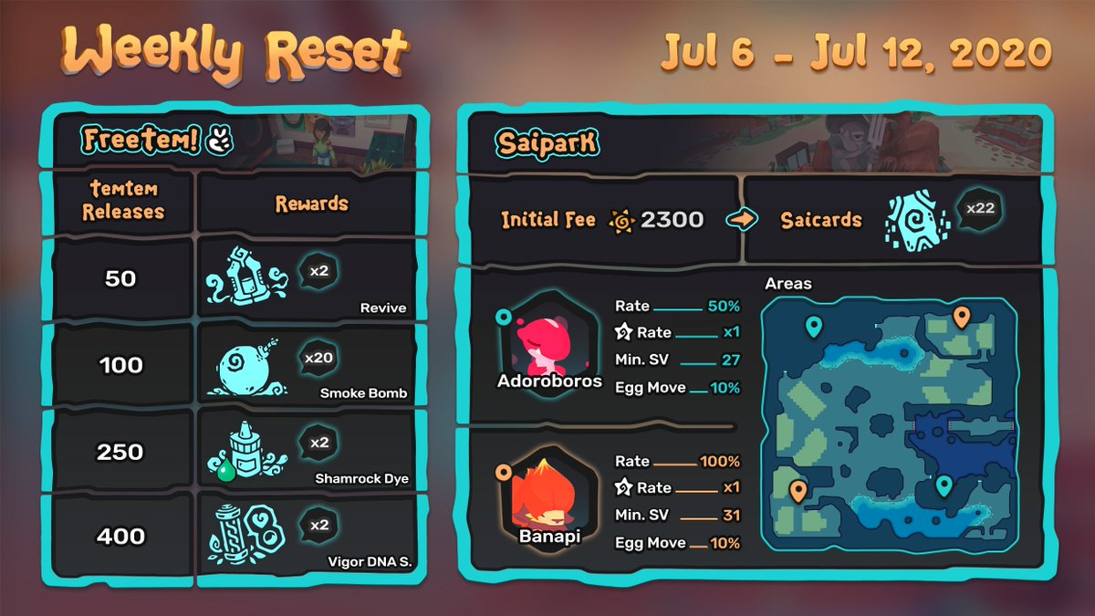 Heres the configuration for this weeks Saipark!  This week in the Saipark... useful items, and red tems 🍒 This configuration will run from July 6th to July 12th, 2020. Happy taming!
