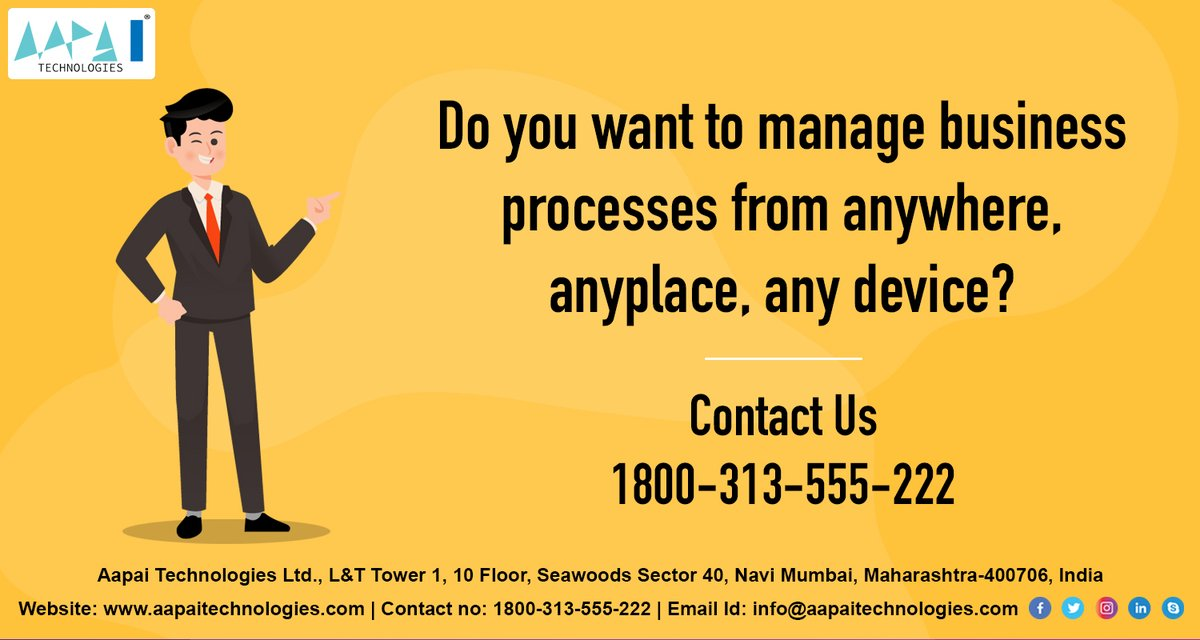 Do you want to manage business processes from anywhere, anyplace, any device? https://lnkd.in/g47tvuA Contact us :1800 – 313 – 555 – 222 Email id: info@aapaitechnologies.com #helpyourbusiness #erp #erpsoftware #erpfacts #erpdevelopment #shanayaerp #erp2020 #erpstudentspic.twitter.com/qTK24mDjiS