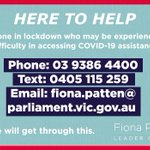 We feel for everyone in the lockdown, especially in public housing towers in Flemington & Nth Melbourne with 53 confirmed cases. Those residents in need advised to call 1800 961 054, other areas 1800 675 398. If any difficulty, my office can help put you in contact with services.