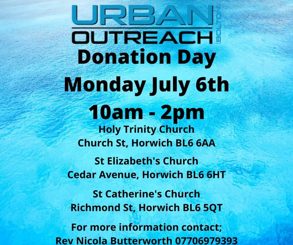 📢 Dont forget there is another donation day hosted by Holy Trinity Church, @StLizziesCofE and St Catherines Church. Thank you to all who will be donating and for those collecting! #Boltonpowerofone