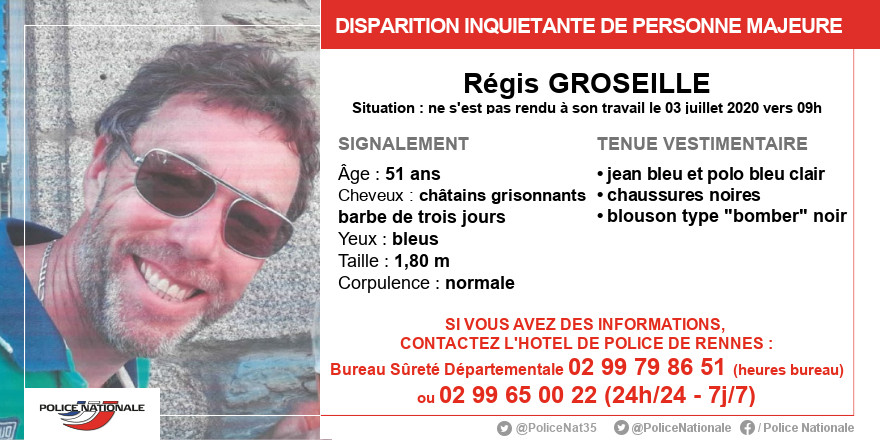 #Rennes Disparition inquiétante de Régis Groseille depuis le 03/07/2020 vers 09h. Il a stationné son véhicule dans l'hyper-centre de Rennes mais ne s'est pas rendu à son travail. Pour toute information, contactez la Sûreté Départementale de Rennes 02.99.79.86.51 - 85.51 ou 86.39 https://t.co/LeM8DcKiYq