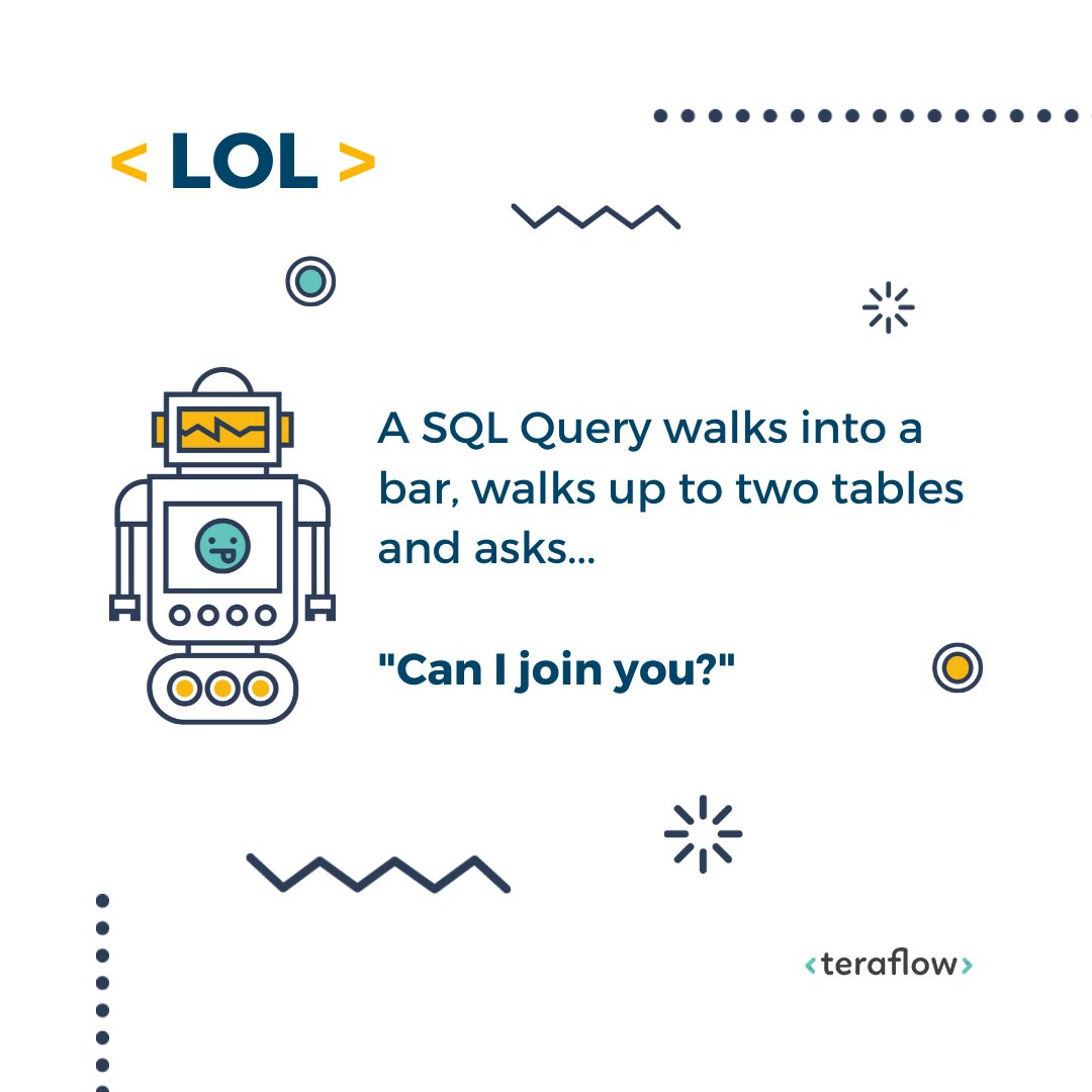 Happy Monday Everyone! We thought we would help you start your week on a positive note with a little programming humour #lol #dadjokes #nerdhumour #forfun #ai #artificialintelligence #programmer #sql #codingjoke #geek #nerdlifepic.twitter.com/K2plwvSMrC