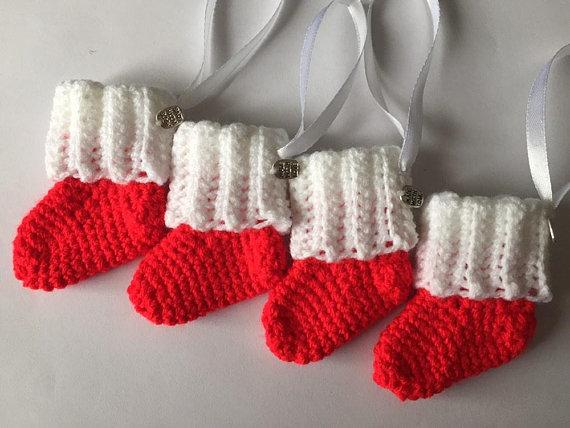 Mini Christmas Stocking Hanging  via @EtsySocial #TrixieBlues #Etsy #Christmas #Decoration