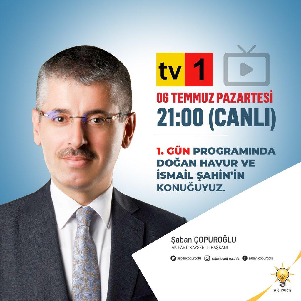 6 Temmuz Pazartesi (Bugün) saat 21:00'da TV-1 ekranlarında Doğan Havur ve İsmail Şahin'in canlı yayın konuğu olarak gündemi değerlendireceğiz.   @erkankandemir @halisdalkilic https://t.co/8ScmHipUUJ