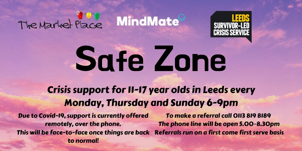 SafeZone - crisis service for 11-17's open tonight! Book a same-day session from 5pm on 0113 819 8189.   Providing #crisissupport to young people aged 11-17 in #Leeds   Lines open MONDAYS, THURSDAYS, & SUNDAYS  #MentalHealthMatters   #MondayMotivation  #heretohelp https://t.co/gp2QZGjW8L