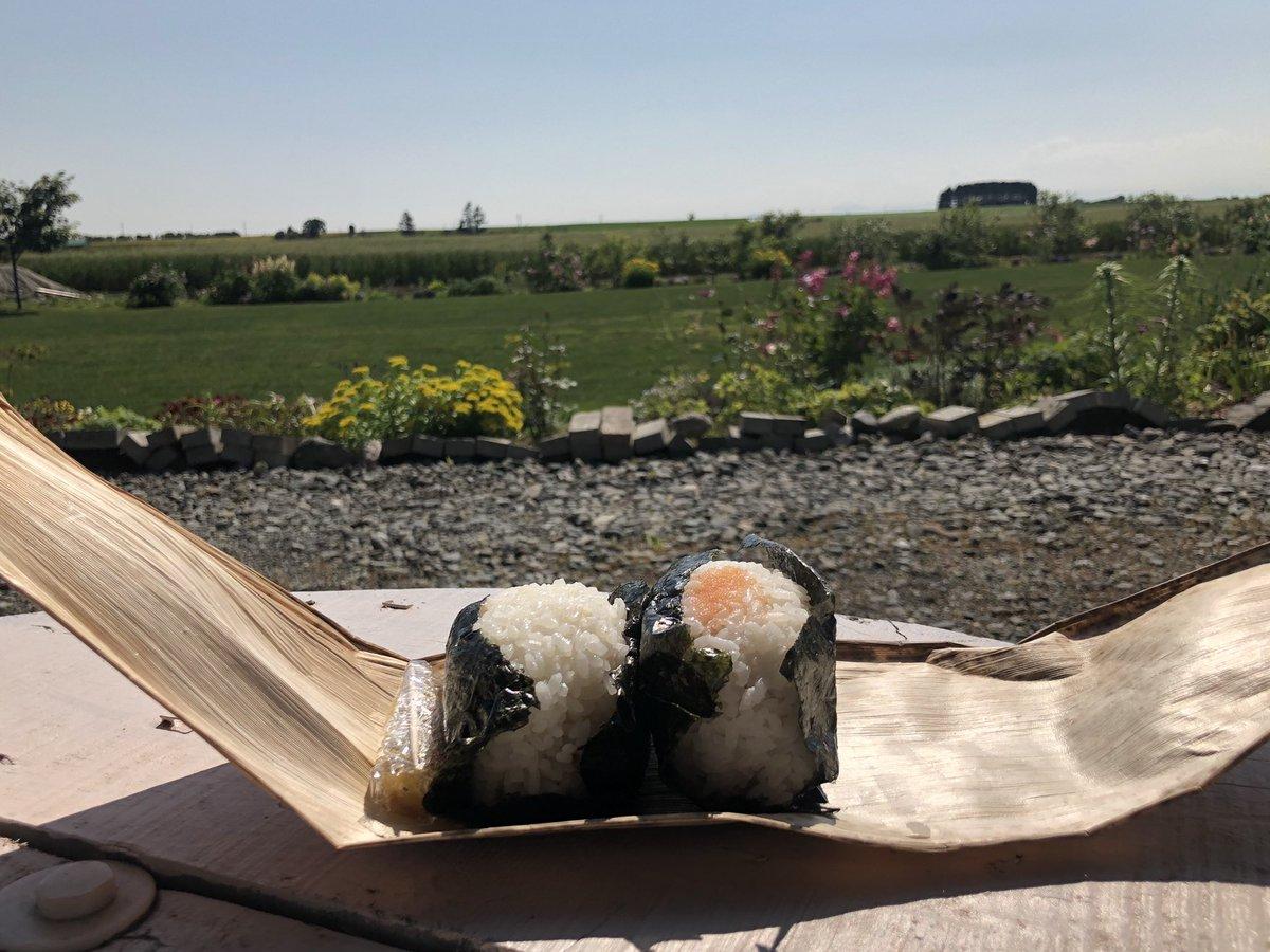 という訳で、遅い昼食‼️窯で炊いた地元米の…おにぎりが旨すぎるー(● ˃̶͈̀ロ˂̶͈́)੭ꠥ⁾⁾✨