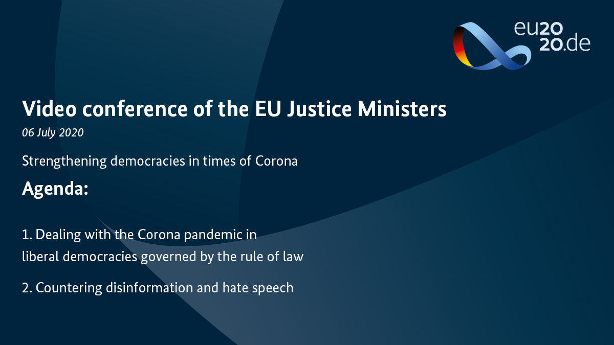 #EU2020DE kicks off this week with a virtual conference of the EU Justice Ministers. In focus: Strengthening democracies in times of #Covid19. @BMJV_Bund https://t.co/JWq9m3hQM0