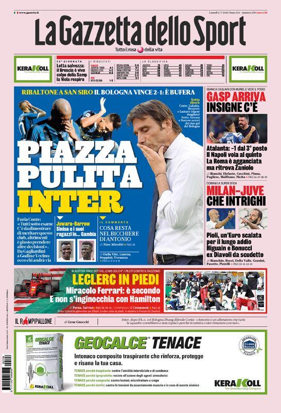 Front page of #Gazzetta  2020-07-06   #edicola #primapagina #Juventus #Inter #Milan #Roma #Napoli #Laziopic.twitter.com/A8OHGPl2L8