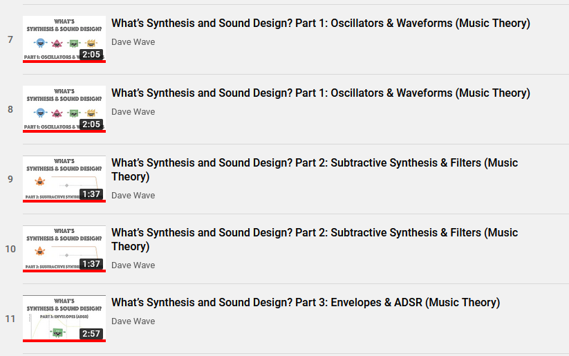 """@Dave_Wave_ Looks like you added parts 1 and 2 of """"synthesis and sound design"""" to your playlist twice each. https://www.youtube.com/playlist?list=PLrnjie9klQEmh7CX2LC_MetxXpr2-mge8…pic.twitter.com/9jGiggmq8T"""