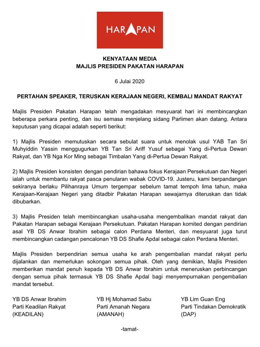 Majlis Presiden memberikan mandat penuh kepada YB DS @anwaribrahim  untuk meneruskan perbincangan dengan semua pihak termasuk YB DS Shafie Apdal bagi menyempurnakan pengembalian mandat rakyat. https://t.co/aSDEOnfx3I