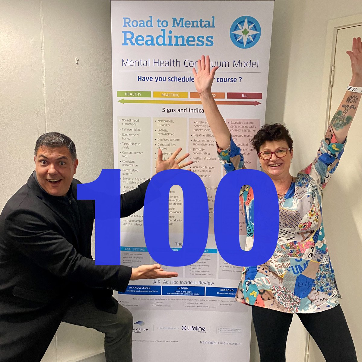 Congratulations Chrissy 🌟 for having delivered your 100th @Lifeline_ACT Road to Mental Readiness training session today. An outstanding program to help increase resilience and maintain mental health. Thank you 🙏 #mentalhealth #resilience #training https://t.co/yE9q2MS2Ba