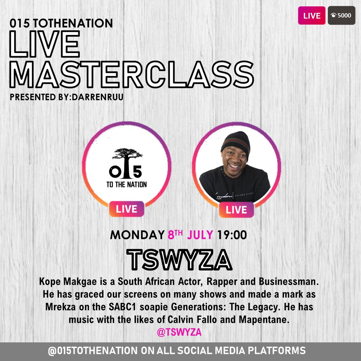 WELCOME TO SEASON 2 OF MASTERCLASS LIVE.   S2 E1 - TSWYZA.  #015ToTheNation #Limpopo #Music #Acting  #Art https://t.co/KasjP3uOlS