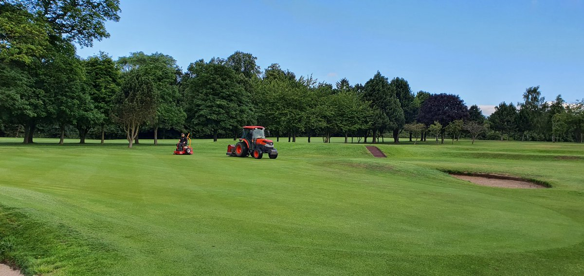 Greens will be solid tined, rolled and have spray tonic applied today. This will help alleviate stress and increase plant health. Minimum surface distribution will take place. Please keep a safe distance from the staff working on the greens.  Course open,  Buggies permitted.