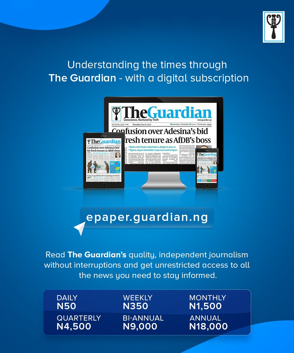 From as little as ₦50, you can now get your daily copy of The Guardian without going to the newsstands. Just click https://t.co/jkoNZZUevz to sign up.  #Newspaper #ePaper #Headline #Business #Politics #Sports #News #Nigeria #NigerianNews #Africa #TheGuardianNg https://t.co/H9bTUZE4CM