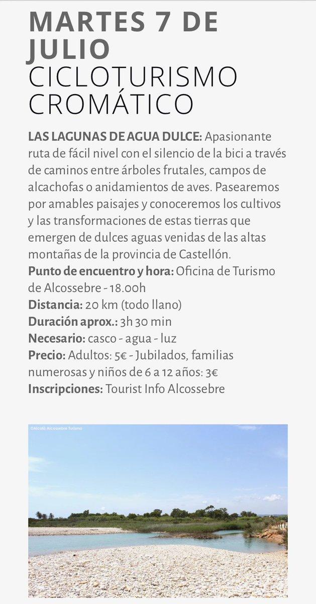 #AgendaAlcalàAlcossebre  Martes 7/07- Cicloturismo Cromártico   Las Laguna de agua dulce.  Ruta de fácil nivel con el silencio de la bici a través de caminos entre árboles frutales, campos de alcachofas o anidamientos de aves. Inscripciones: Tourist Info Alcossebre 964412205pic.twitter.com/2nWFLYmpdr