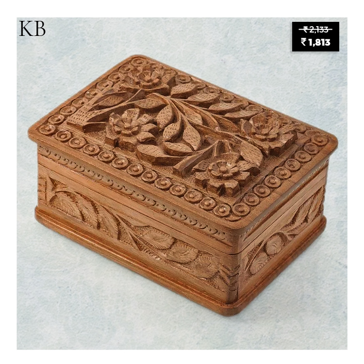 """Place it over tabletops or decorative shelves, or use it as regal storage, this """"Spring Bloom Walnut Wood Box"""" will add a touch of antique to your whole interiors all at once. #homedecor #luxury #kashmir #Eid  Shop at: https://t.co/rlGqeCkBjB https://t.co/hnHETzkK01"""