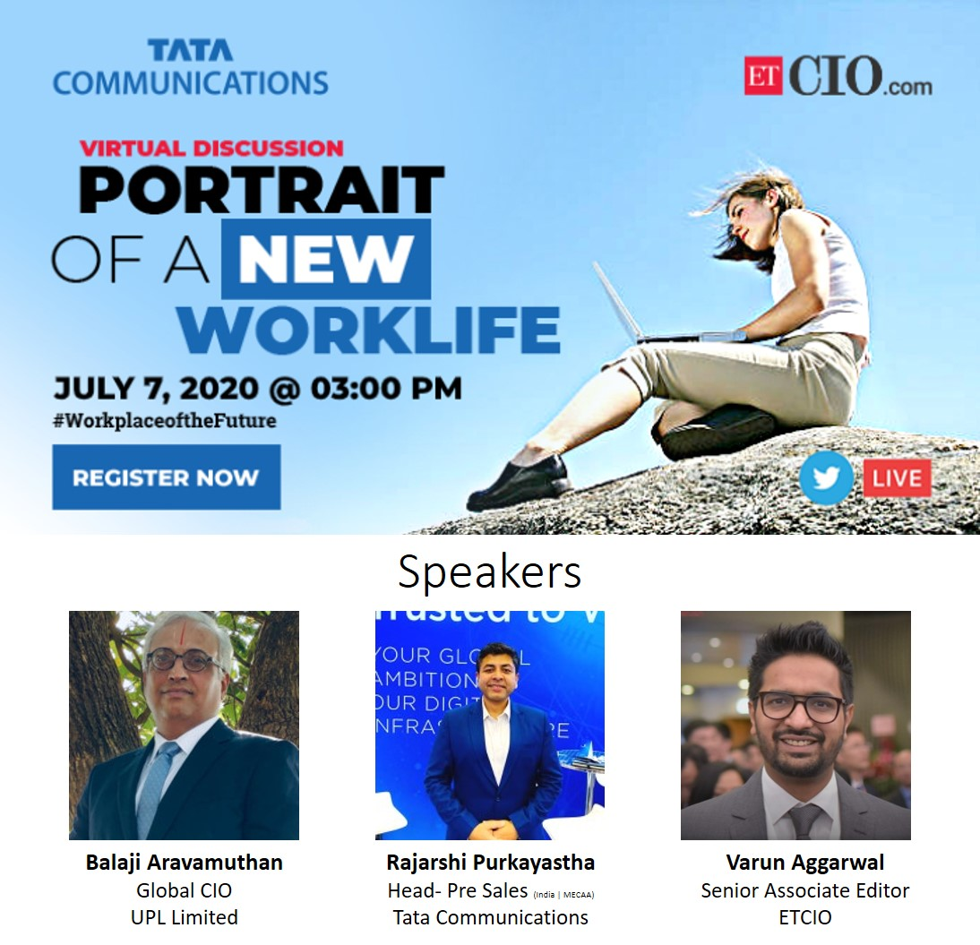 Catch the conversation live with ETCIO(@ET_CIO) & Tata Communications(@tata_comm) on Twitter on 7th July, 3:00 PM. Tune in and share your queries using #WorkplaceoftheFuture . Register Here: https://t.co/gV164JjKia https://t.co/B9sf6HzVc2