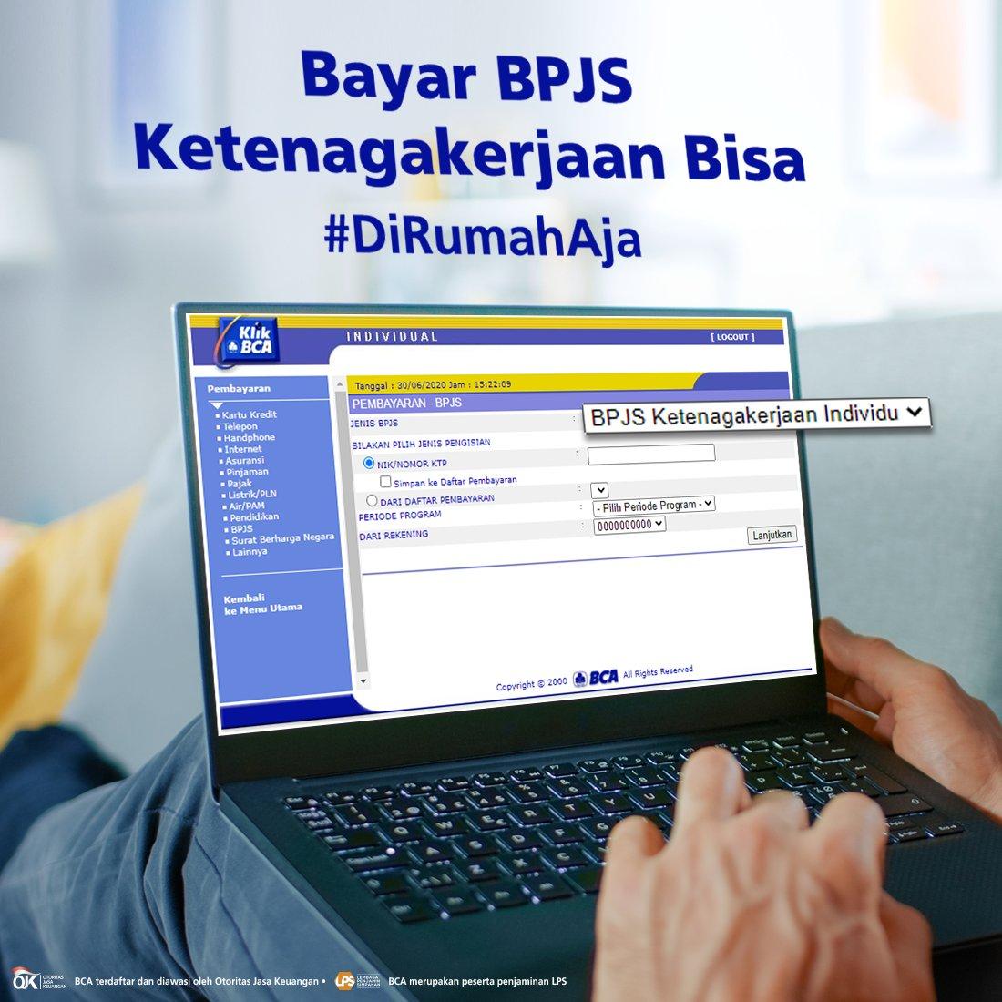 Anda yang termasuk dalam segmen Bukan Penerima Upah (BPU) tentunya harus membayar BPJS Ketenagakerjaan sendiri. Sekarang, makin mudah bayar iuran BPJS Ketenagakerjaan #DiRumahAja melalui KlikBCA. Cara pembayaran lebih detailnya bisa dicek melalui: https://t.co/ELgmxgOuQy https://t.co/A77ypw8ghx