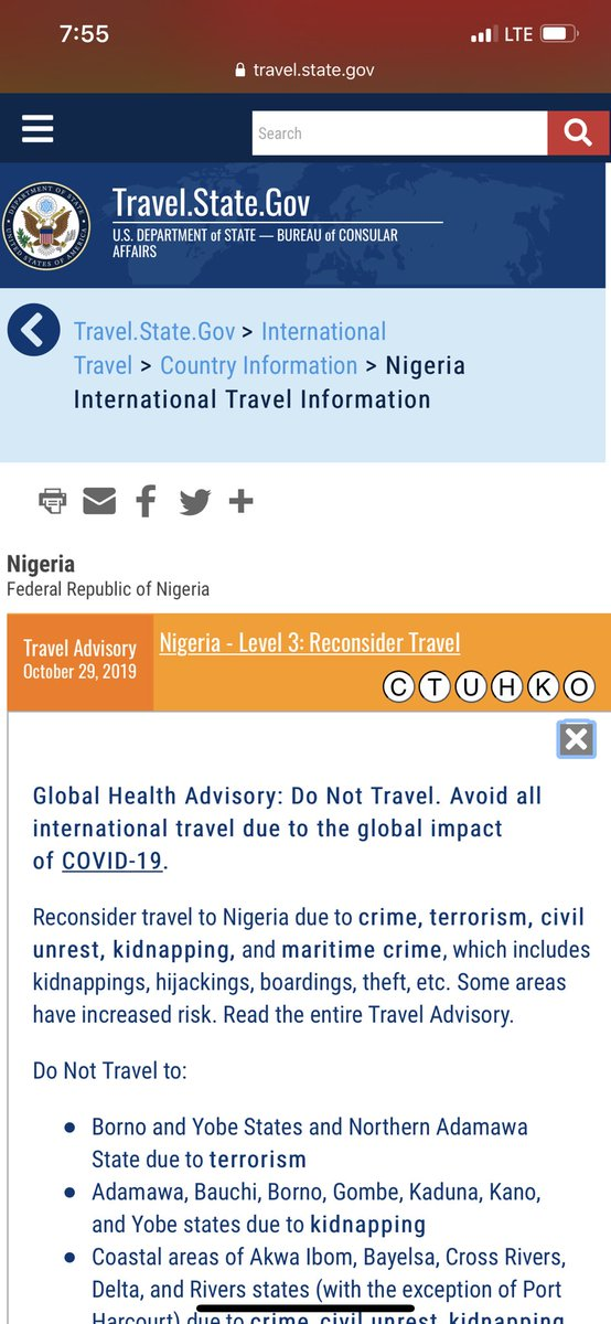 This is how US Department of State describes the state of Nigeria to US citizens who wish to travel to Nigeria.   Nigeria is a Nation in total disarray https://t.co/90vhwIs849
