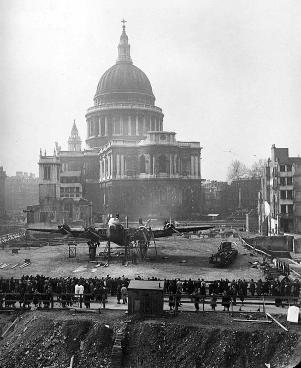 A Short Stirling Heavy Bomber in the rubble by St Paul's Cathedral as part of a 'War Bonds' and morale boosting project... www.the-east- https://t.co/7uP9dcQKUG #London #History https://t.co/jWponBGtcP