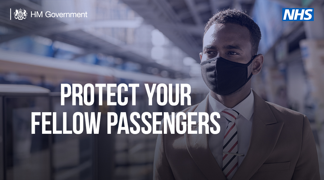 Remember to wear a face covering on public transport in England. #StayAlert