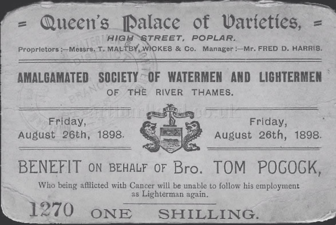 1898 - the Amalgamated Society of Watermen and Lightermen looked after their own with a Benefit at the Queen's Palace of Varieties in Poplar for Tom Pocock who was 'unable to follow his employment' due to cancer... #Cancer https://t.co/dpVrjXOOaY