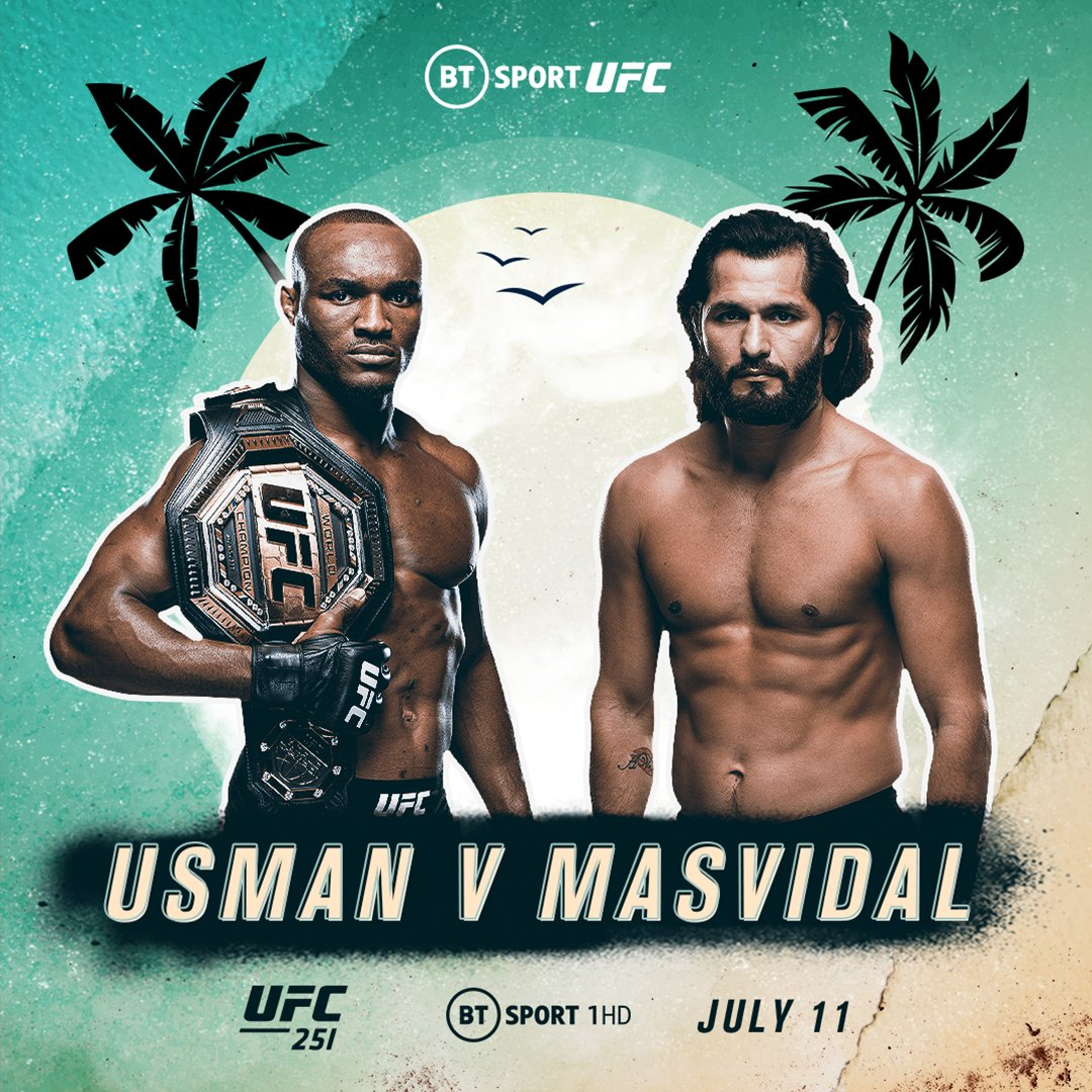 It's officially official 🤯  Kamaru Usman and Jorge Masvidal will fight for the UFC welterweight title on six days notice!  #UFC251 | Saturday | BT Sport 1 HD https://t.co/bf4R2OLlZi
