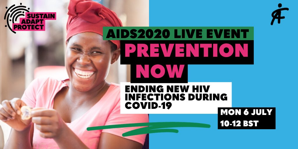 TODAY!  Prevention now: ending new HIV infections during COVID-19 at #AIDS2020Virtual @AIDS_conference   🗓️ Monday 6 July 🕙 10 – 12 BST 🎟️ https://t.co/98qHCUojlC  @Winnie_Byanyima @DrPaulaMunderi @GlobalFund @LVCTKe @meisabheena @AllianceinIndia @CoteAlliance @gatesfoundation https://t.co/LlVAWdnLQR
