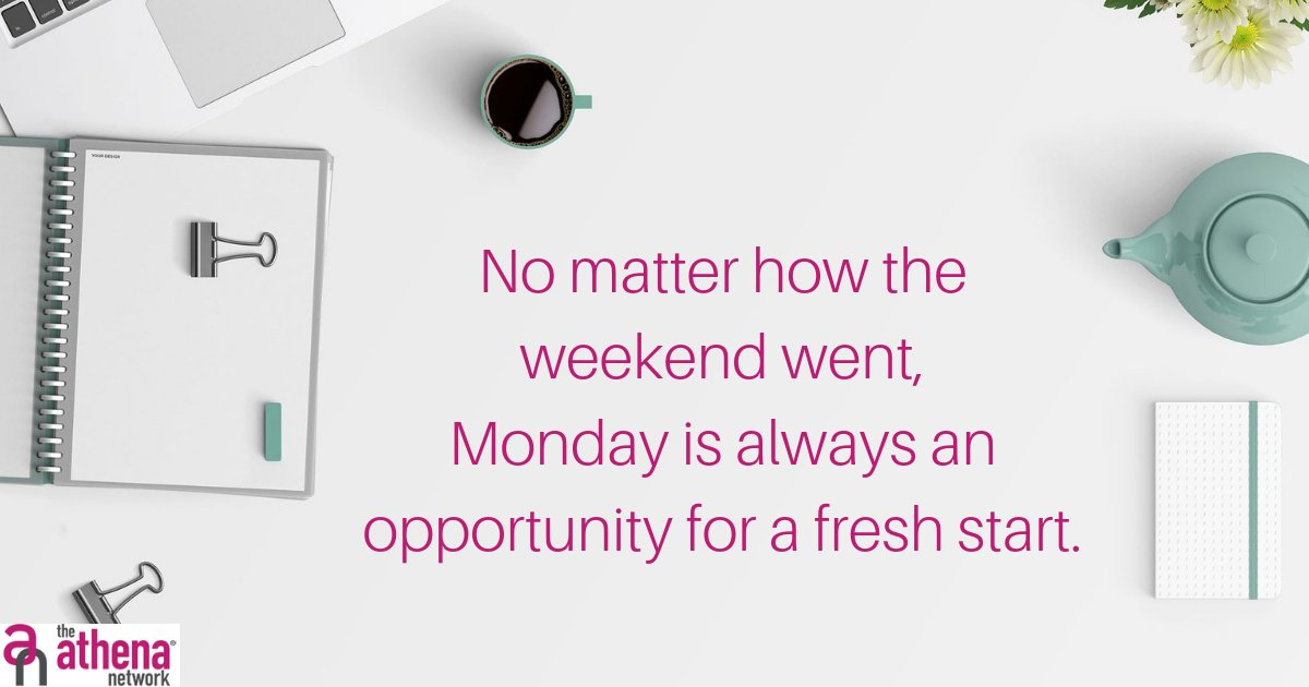 However your weekend went, it's Monday, which means it's a great time to make a fresh start.   What do you have planned this week?  #mondaymotivation #positivemind #freshstart #plans #womeninbusiness #athenaconnection #athenacentrallondon #magentatribe https://t.co/TGSRT1Zq2b